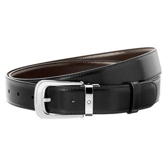 【SALE】Montblanc Horseshoe Shiny Palladium-Coated Pin Buckle Belt 106603