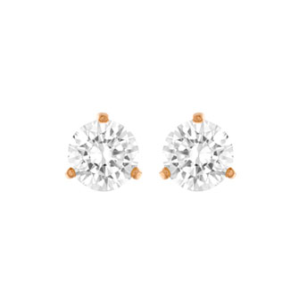 Solitaire Pierced Earrings, White, Rose Gold Plating 5112156