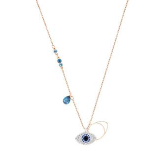 Duo Evil Eye Pendant, Blue, Mixed plating 5190033