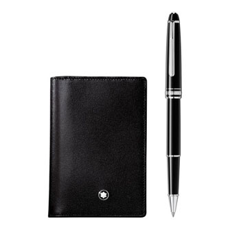 Montblanc Gift Set with Meisterstück Platinum Classique Rollerball and Business Card Holder with Gusset 118907