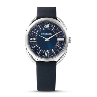 【SALE】Crystalline Glam Watch, Leather strap, Blue, Stainless steel 5537961