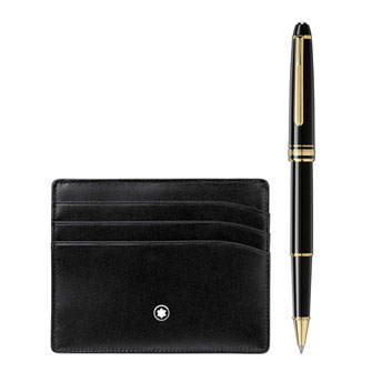 Montblanc Gift Set with Meisterstück Gold line Classique Rollerball and pocket holder 6cc 123752