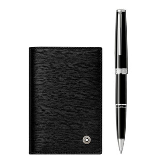 Montblanc Gift Set with PIX Black Rollerball and 4810 Westside Business Card Holder with V Gusset 123757