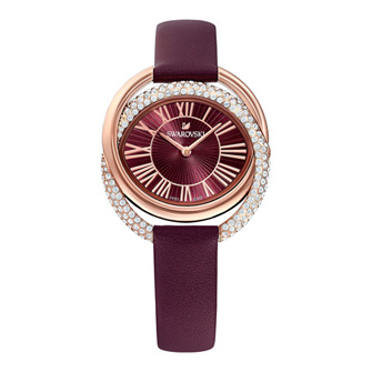 【SALE】Duo Watch, Leather Strap, Dark red, Rose-gold tone PVD 5484379