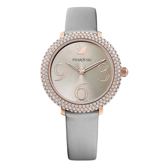 【SALE】Crystal Frost Watch, Leather Strap, Gray, Rose-gold tone PVD 5484067