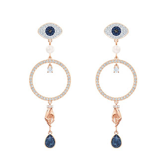 【SALE】SYMBOLIC HOOP PIERCED EARRINGS, MULTI-COLORED, ROSE-GOLD TONE PLATED 5500642